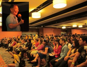 George Takei speaks to the audience at The 8th annual Florida Supercon 2013 at Miami Airport Convention Center